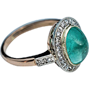 Vintage Russian Cabochon Emerald Diamond 14K Gold Ring