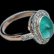 Vintage Russian Cabochon Emerald Diamond 14K Gold Ring