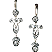Antique Edwardian Era Russian Diamond Silver 14K Gold Dangle Earrings