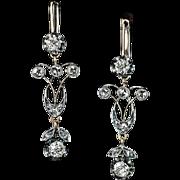 Antique Edwardian Era Russian Diamond Silver 14K Gold Dangle Earrings