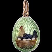 Rare Antique FABERGE Imperial Russian Painted Guilloche Enamel Miniature Egg Pendant Necklace