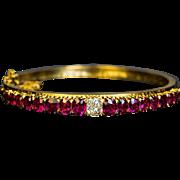 Antique Victorian Era Ruby Diamond 14K Gold Bangle Bracelet