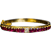 Antique Victorian Era Ruby Diamond 14K Gold Bangle Bracelet