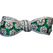 Vintage Art Deco Diamond Emerald Platinum Bow Brooch