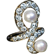 Belle Epoque Antique Diamond Pearl 14k Gold Ring