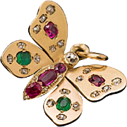 Antique Ruby Emerald Diamond 14K Gold Butterfly Pendant Necklace