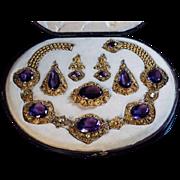 Antique Georgian c. 1830 Amethyst Green Chrysoberyl 15K Gold Parure Jewelry Set