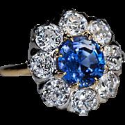 Antique 2.24 Ct Sapphire 2.40 Ctw Diamond Engagement Ring