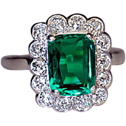 Rare Untreated 2.31 Ct Colombian Emerald Diamond Vintage Engagement Ring