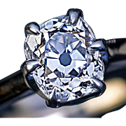 1.15 Ct F Color Antique Cushion Cut Diamond Engagement Ring