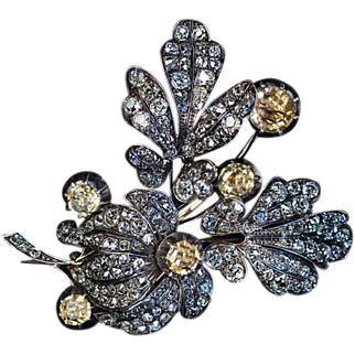 Large Antique Victorian Topaz 11 Ct Diamond Flower Brooch