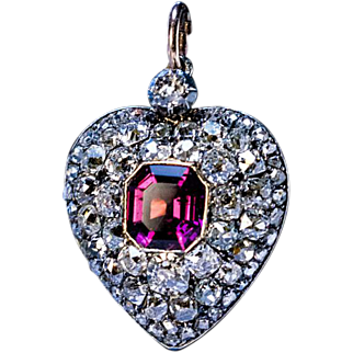 Antique 19th Century Garnet Diamond Heart Locket Pendant