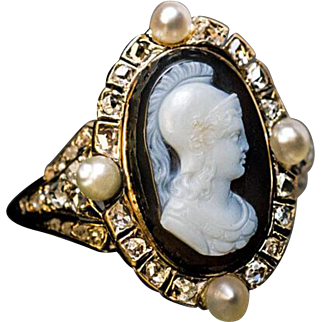Rare Antique Victorian Carved Agate Cameo Ring