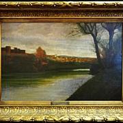 Henri-Joseph Harpignies 'Le Canal du Nivernais' oil on canvas