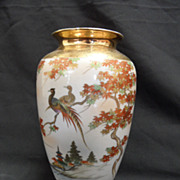 Kutani Pheasant Vase with Gilt Detail