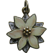 Antique French Enameled Edelweiss 800 Best Regards Silver Slide Charm