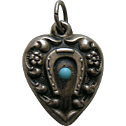 Vintage Turquoise Paste Horseshoe Sterling Heart Charm