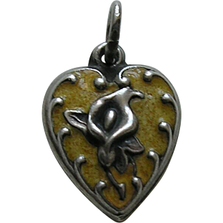 "Vintage Enameled Yellow Calla Lily ""Ginny"" Sterling Heart Charm"