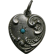 Antique Turquoise Paste Swirl Sterling Heart Charm