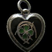 "Vintage Enameled Lucky Symbols ""Gunnard"" Sterling Heart Charm"