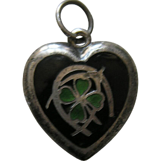 "Vintage Enameled Lucky Symbols ""Gunnard"" Sterling Heart Charm"