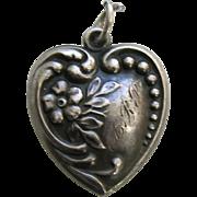 Vintage Large Forget-Me-Not Sterling Heart Charm