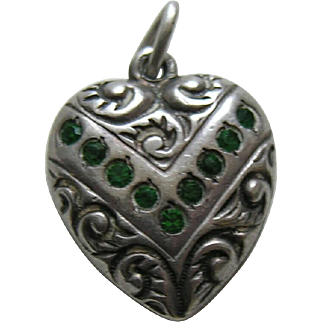 Vintage Emerald Paste V Double Sided Sterling Heart Charm