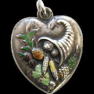 Vintage Large Enameled Cornucopia Sterling Heart Charm