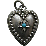 "Vintage Turquoise Paste Star ""M"" Sterling Heart Charm"