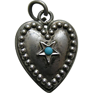 """Vintage Turquoise Paste Star """"M"""" Sterling Heart Charm"""