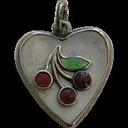 Vintage Enameled Cherries Mother of Pearl Sterling Heart Charm