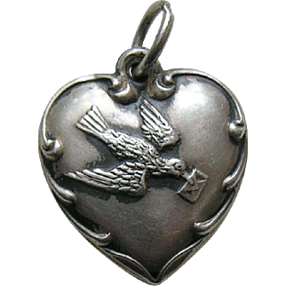 """Vintage Bird with Letter """"Ruth"""" Sterling Heart Charm"""
