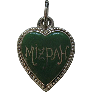 Antique Enameled Mizpah Sterling Heart Charm