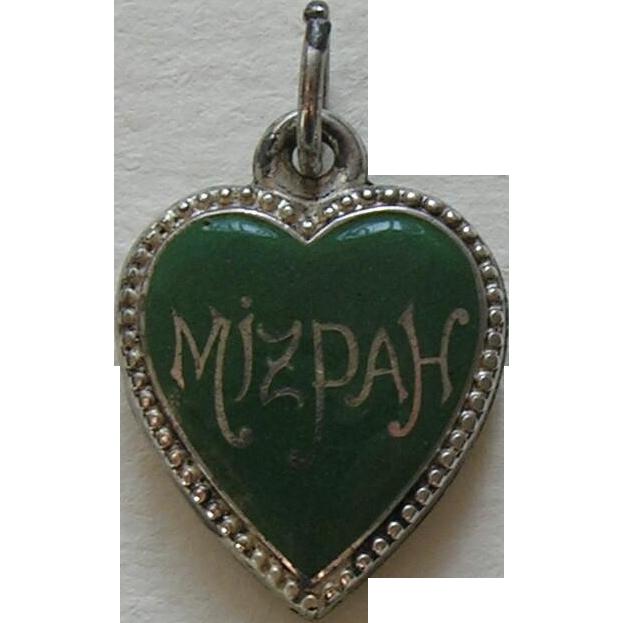 antique enameled mizpah sterling heart charm red robin
