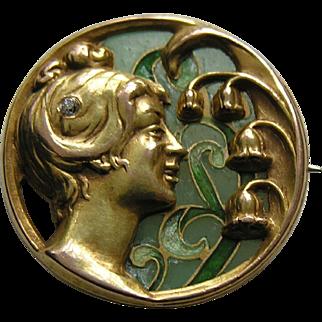 Riker Art Nouveau Plique Lady Diamond Lily of the Valley 14k Brooch/Watch Pin