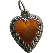 Vintage Enameled Orange Fleur-de-lis Border Sterling Heart Charm