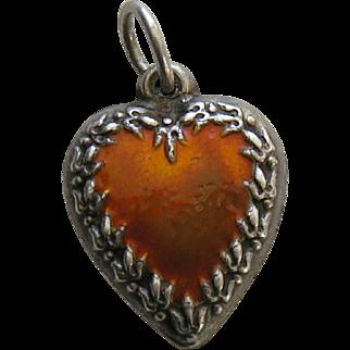 Vintage Enameled Orange Fleur-de-lis Border Sterling Heart Charm