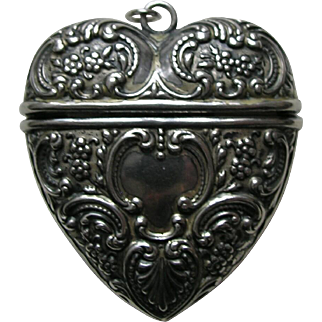 Antique Foster and Bailey Sterling Heart Chatelaine Needle Case