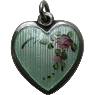 Walter Lampl Enameled Pink Rose Sterling Heart Charm