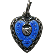 "Vintage Blue Enameled Your Heart for Keeps ""Florence"" Sterling Heart Charm"