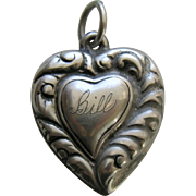 "Vintage Witch's Heart ""Bill"" Sterling Heart Charm"