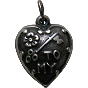 Vintage Rebus Key to My heart Extra Puffy Sterling Heart Charm
