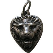 Vintage Lion Sterling Heart Charm