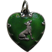 Vintage Green Enameled Fox and Grapes Sterling Heart Charm