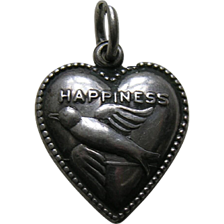 "Vintage Bluebird of Happiness Rebus ""Reggie"" Sterling Heart Charm"