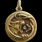 Antique Wildcat Snake Diamond 10k Gold Locket