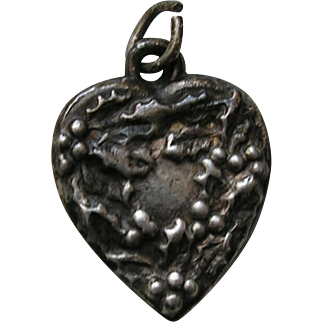 Vintage Flower of the Month December Holly and Berries Sterling Heart Charm