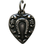 "Vintage Horseshoe and Flowers ""Eva"" Sterling Heart Charm"