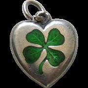 Antique Enameled Shamrock Sterling Heart Charm