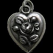 "Antique Rose ""Dar"" Sterling Heart Charm"